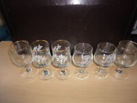 Three Pairs of Liquor Glasses