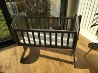 O Baby swinging crib, grey