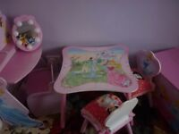 Kids table 2 chairs plus dressing table with a stool and wooden box.