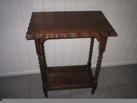 Small wooden table/lamp table with barley twist legs. Ideal upcycling project or use as it is.
