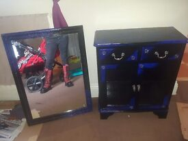 2 drawer cabnet and mirror