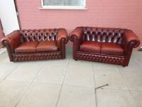 A Pair Conker Brown Leather Chesterfield 2 x 2 Seater Sofas