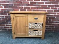 Oak Compact Sideboard Wicker Baskets Cup Handles RRP £469