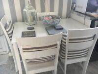 White table 4 chairs