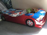 Racing car bed and bedding