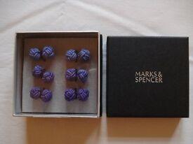 8 boxes lilac knot cufflinks in M&S gift box, wedding, birthday etc. £5 per box, original price £10