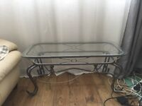 Silver & gold, metal, glass coffee table