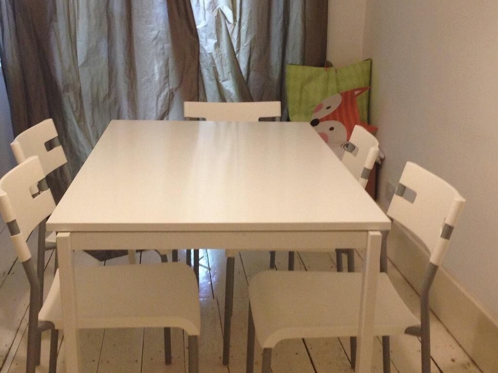 melltorp ikea table and 4 white plastic chairs in uxbridge london gumtree. Black Bedroom Furniture Sets. Home Design Ideas