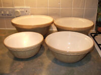 Superb set of 4 food cake mixing bowls, small to large by Mason Cash