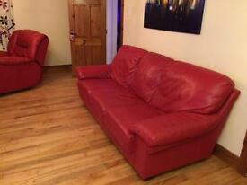 Red Leather 3 / 2 / 1 Sofas