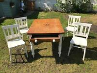 Antique table and 4 Chapel Chairs