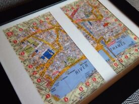 Vintage Framed London Map - ST. PAUL'S CATHEDRAL, HOLBORN, RIVER THAMES, EMBANKMENT, TEMPLE.