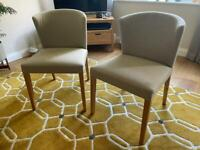 2 x Habitat dining chairs, cloth covering with oak legsf