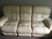 Three seater and two seater leather recliner sofas