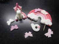 Edible unicorn and rainbow cake / Cupcake Decorations