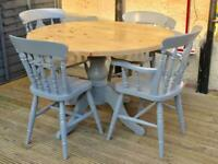 cottage style pine round table and chairs