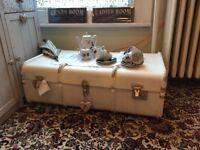 Vintage painted steamer trunk coffee table