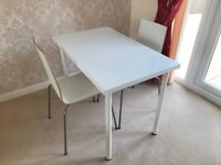 IKEA WHITE TABLE & 2 CHAIRS