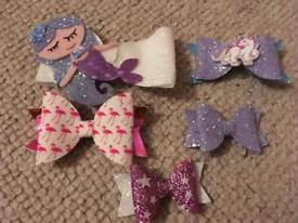 Little girls x5 purple themed bows including mermaid