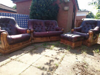 4 Piece lounge suite - Real wood with burgandy leather seats