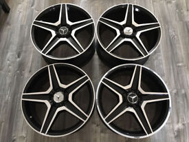 "19"" ALLOYS FIT MERCEDES GLA C E CLASS BLACK 5 SPOKE NEW ALLOY WHEELS STAGGERED LONDON"