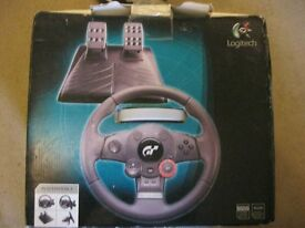PLAYSTATION 3 LOGITECH DRIVING FORCE GT. STEERING WHEEL+ACCELERATOR/BRAKE PEDALS+POWER SUPPLY.
