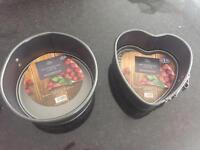 Two springform new small baking cake tins (heart and round shape)