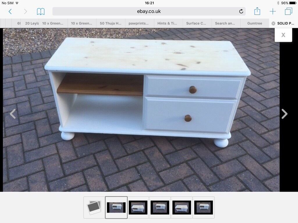 Media cabinet tv dvd sky etc solid pine DUCAL painted shabby chic ...