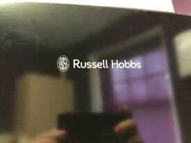 Black with silver handles Russell Hobbs fridge freezer