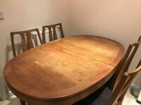 Extendable Wooden Table And 4 Matching Chairs