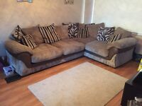 Corner sofa and chair black and grey