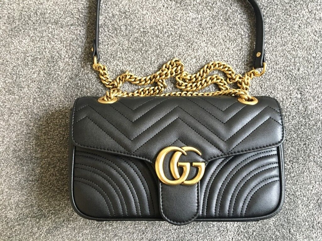 75bc38f9bb252d GUCCI Marmont matelasse Real Leather Medium Black Handbag, Shoulder bag