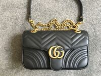 GUCCI Marmont matelasse Real Leather Medium Black Handbag, Shoulder bag