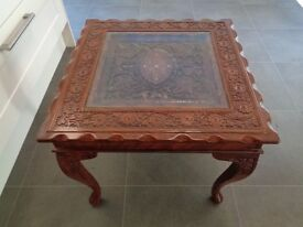 Indian rosewood hand carved coffee table