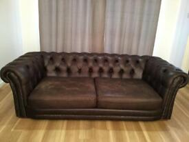 Chesterfield Tan brown 3+ 2 Seater Faux Leather Sofa