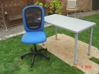 Office Desk and Swivel Chair on Castors. Both in Good condition. Can Deliver. Will Sell separately.