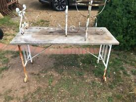 Vintage style garden table and 2 planter frames