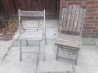2 Teak Wood Garden Chairs - Folding Chairs Patio Chair in VGC