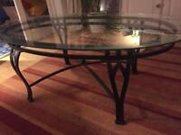 Designer glass topped metal coffee table
