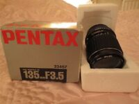 Pentax-M SMC 135mm, F3.5 Telephoto/Zoom lens for camera.