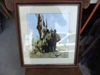 LITHOGRAPH OF MOTHER & BABY RHINO BY DAVID SHEPHERD SIGNED IN PENCIL BY HIM & IN EXCELLENT CONDITION