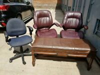 Office Chairs & Wooden Bench - Real Leather