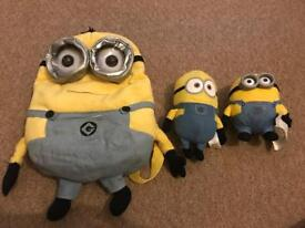 Minion backpack and teddies