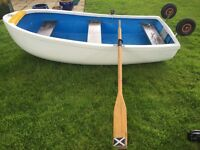 2.4 m (8ft) GRP Dinghy Tender inc road trailer & wooden oars, good condition