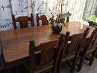 LARGE oak refectory table & 6 chairs