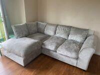 Corner sofa, silver crushed velvet