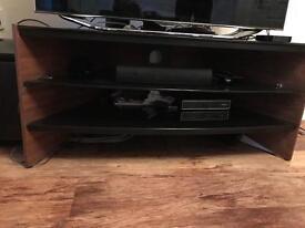 Walnut and black glass TV corner unit