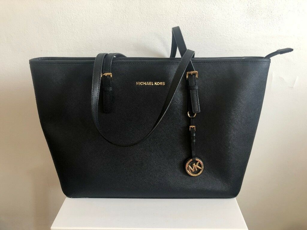 193ba5adf6e2 MICHAEL KORS BLACK PEBBLED LEATHER SHOULDER TOTE BAG *RRP £295*