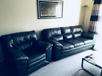 DFS 3 Seater leather Sofa and Arm Chair
