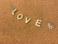 Love garland metal and wooden hearts